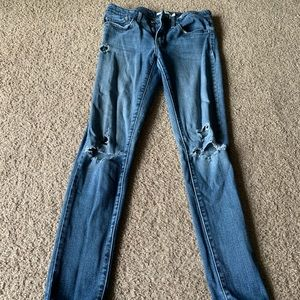 Levi's Distressed 711 Skinny Mid Rise Jeans